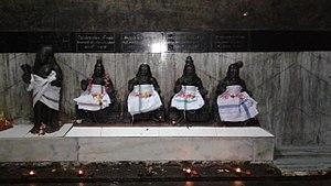 Meykandar - The figures of Sundarar and four Santāṉa kuravars in which Meykandar appears second from left to right. Karur temple, Tamil Nadu.
