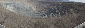 Anshan - Qidashan open cast iron ore mine, one of three large pits surrounding Anshan city.