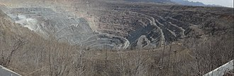 Anshan - Qidashan open cast iron ore mine, one of three large pits surrounding Anshan city