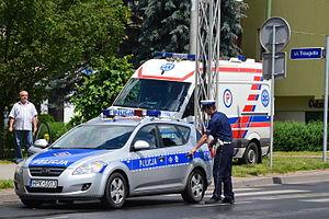 Crime in Poland - Polish police in the city of Sanok.