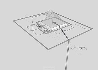 Pyramid of Djedefre - Isometric drawing of the pyramid complex of Djedefre taken from a 3d model