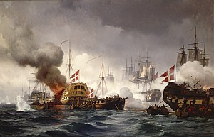 English Wars (Scandinavia) - The Danish ships of the line, Kronborg and Dannebrog, in battle.