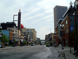Hennepin Avenue - Hennepin Avenue, looking north from 10th Street into the downtown Theatre District