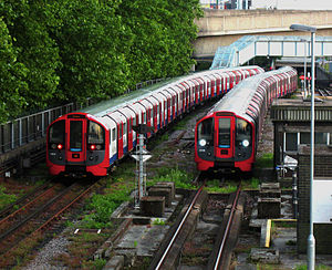 London Underground rolling stock - Two London Underground 2009 Stock trains at the Northumberland Park Depot.