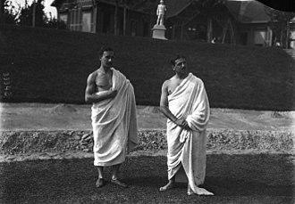 Georges Hébert - (1913) Reims, France; Collège d'athlètes. Hébert is standing to the left. The man to the right is Jean Bouin, the French mid-distance Olympic runner, who died at age 25 while fighting in the French army during the opening weeks of World War 1, in the year 1914.