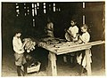 10 year old leaf boy and three 'stringers' 10, 12, and 13 years old. Tobacco shed of American Sumatra Tobacco Co. In these two sheds were 41 girls and boys from 10 to 15 years, and only 24 LOC nclc.00703.jpg