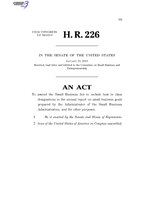 116th United States Congress H. R. 0000226 (1st session) - Clarity on Small Business Participation in Category Management Act of 2019 C - Referred in Senate.pdf