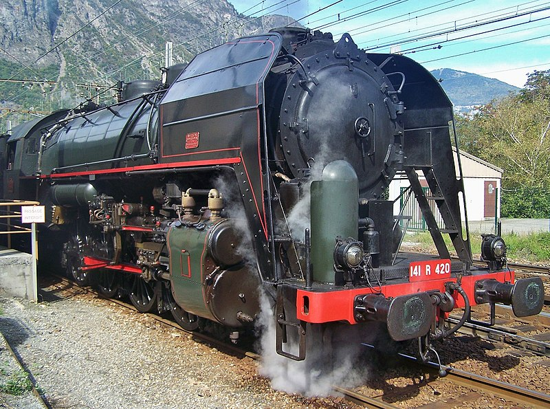 Sight of the 141 R 420 steam locomotive in Saint-Jean-de-Maurienne, Maurienne valley, Savoie, France.