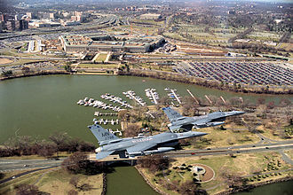 Duluth Air National Guard Base - 179th Fighter Squadron F-16Cs (81-783, 81-799) based at Duluth Air National Guard Base flying over the Pentagon performing air defense over the nation's capital.