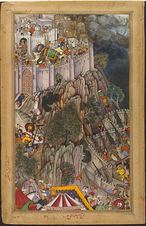 Siege of Ranthambore (1568) - The Mughal Emperor Akbar placed highly accurate narrow barreled long-cannons, protected by sabats at the base of Ranthambore Fort.