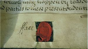 Charles Fane, 1st Viscount Fane - Fane's signature on his daughter Mary's Marriage Settlement, 1734
