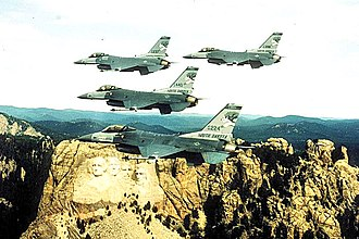 175th Fighter Squadron - Four 175th Fighter Squadron F-16s over Mount Rushmore