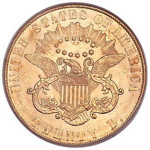 Liberty Head double eagle - The 1861 Paquet reverse