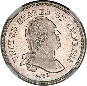 Washington nickel - Image: 1866 5C Five Cents, Judd 461, Pollock 535, R.5
