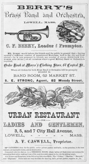Timeline of Lowell, Massachusetts - Image: 1875 ads Lowell Directory Massachusetts