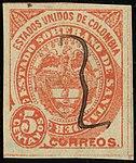 1884 5c EU de Colombia Santander pen Mi2.jpg