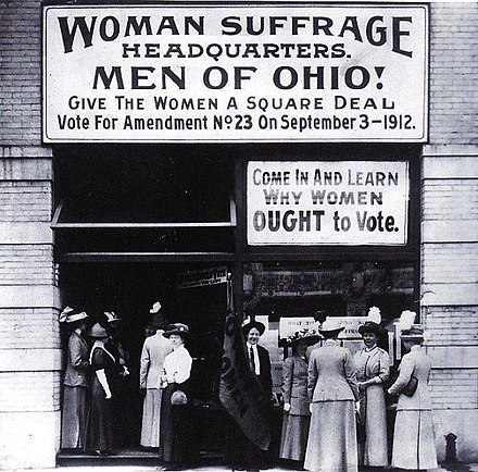 Women's Suffrage Headquarters on Euclid Avenue in Cleveland, Ohio in 1912