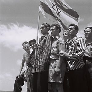 Aliyah - Buchenwald survivors arrive in Haifa to be arrested by the British, July 15, 1945