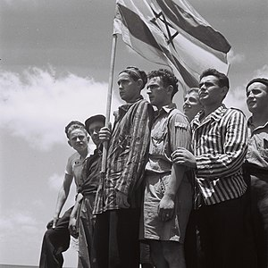 1945 in Mandatory Palestine - Buchenwald survivors arrive in Haifa to be arrested by the British, 15 July 1945