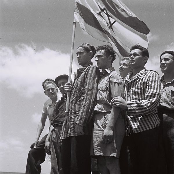 July 15, 1945. Buchenwald survivors arrive in Haifa to be arrested by the British.