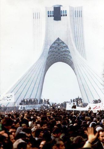 Iranian people protesting against the Pahlavi dynasty, during the Iranian Revolution 1979 Iranian Revolution.jpg