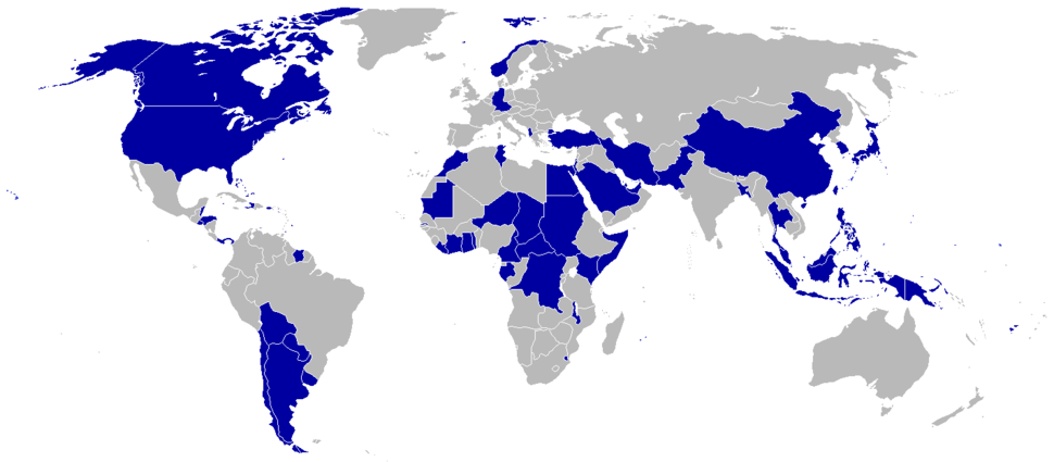1980 Summer Olympics (Moscow) boycotting countries (blue)