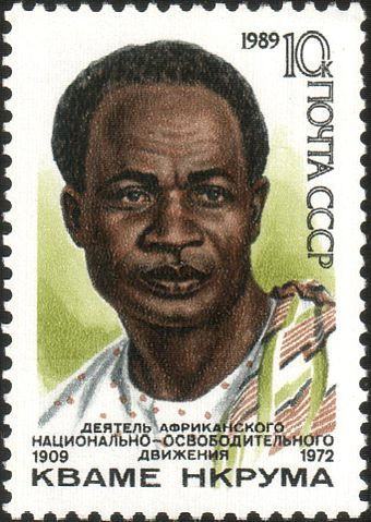 Kwame Nkrumah, the first President of Ghana and theorist of African socialism, on a Soviet Union commemorative postage stamp 1989 CPA 6101.jpg