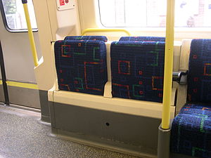 Folding seat -  Folding seats on the London Underground 1995 Stock.