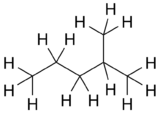 Skeletal formula of 2-methylpentane with all explicit hydrogens added