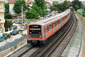 Line 1 (Athens Metro) - Southbound train of Athens-Piraeus Electric Railways enters Nerantziotissa station
