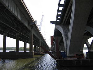Woodrow Wilson Bridge - The original and new spans side-by-side in 2007