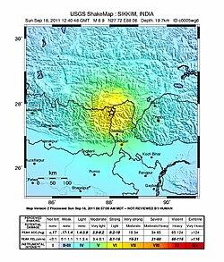 2011-Sikkim earthquake Shakemap.jpg