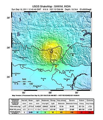 2011 Sikkim earthquake - USGS ShakeMap for the event