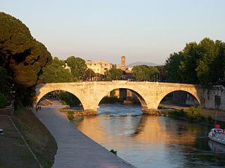 Pons Cestius Roman stone bridge in Rome, Italy