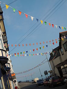 Bunting on display for day 3 of the 2012 Olympic torch relay, in Devon, UK