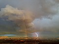 2013-09-22 19 05 29 Rainbows and lightning viewed from Grand View Point in Canyonlands National Park.JPG