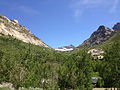 2014-06-23 15 01 05 View up Thomas Canyon towards Mount Fitzgerald from Thomas Canyon Campground in Lamoille Canyon, Nevada.JPG