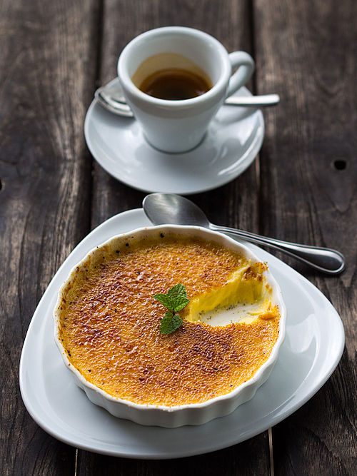 Classic brown caramelized crust on a Crème brûlée