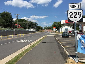 Virginia State Route 229 - View north at the south end of SR 229 in Culpeper
