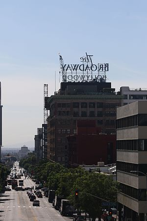 Vine Street - Vine Street from near its northern terminus with the Broadway Hollywood Building prominently in view