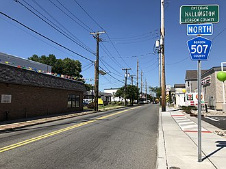 County Route 507 (New Jersey) - View north along CR 507 just north of Paterson Avenue in Wallington
