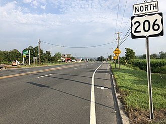 Frankford Township, New Jersey - US 206 northbound at Route 15 and CR 565 in Frankford Township