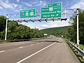 2019-05-17 16 54 11 View east along Interstate 68 and U.S. Route 40 (National Freeway) at Exit 40 (U.S. Route 220 Truck SOUTH, Campground Road, Vocke Road) in Winchester, Allegany County, Maryland.jpg