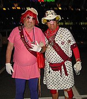 Two members of the Hogettes, a well known group supporting the Washington Redskins