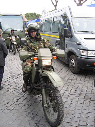 Cagiva - A T4 350 cm³, currently in use in the Italian and other armies because of its maneuverability and power