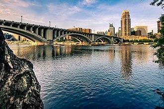 Third Avenue Bridge (Minneapolis) - 3rd Ave Bridge crossing the Mississippi River into downtown Minneapolis.