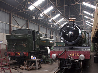 Tyseley Locomotive Works - 4965 and 7760 inside a shed.