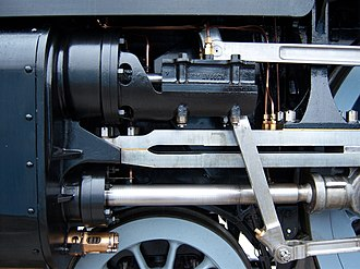 Cylinder (locomotive) - The 'motion' on the left-hand side of 60163 Tornado. The black casting to the left houses the cylinder, in which slides the piston; the piston rod is immediately above the wheel.