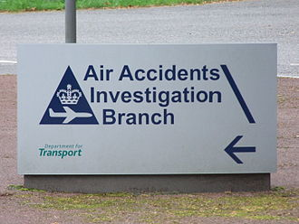 Air Accidents Investigation Branch - Sign leading to the entrance of Farnborough House, the AAIB head office