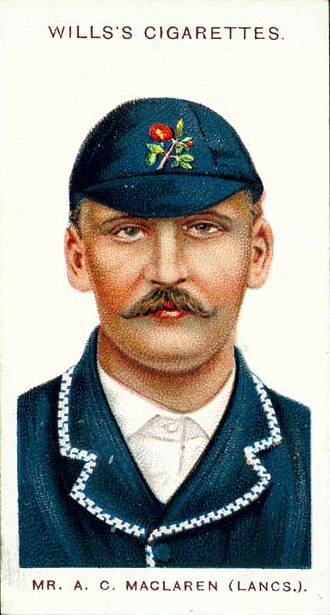Lancashire County Cricket Club - A 1908 cigarette card of Archie MacLaren who captained the club from 1894 to 1896 and holds the record for the highest first-class score by an Englishman.